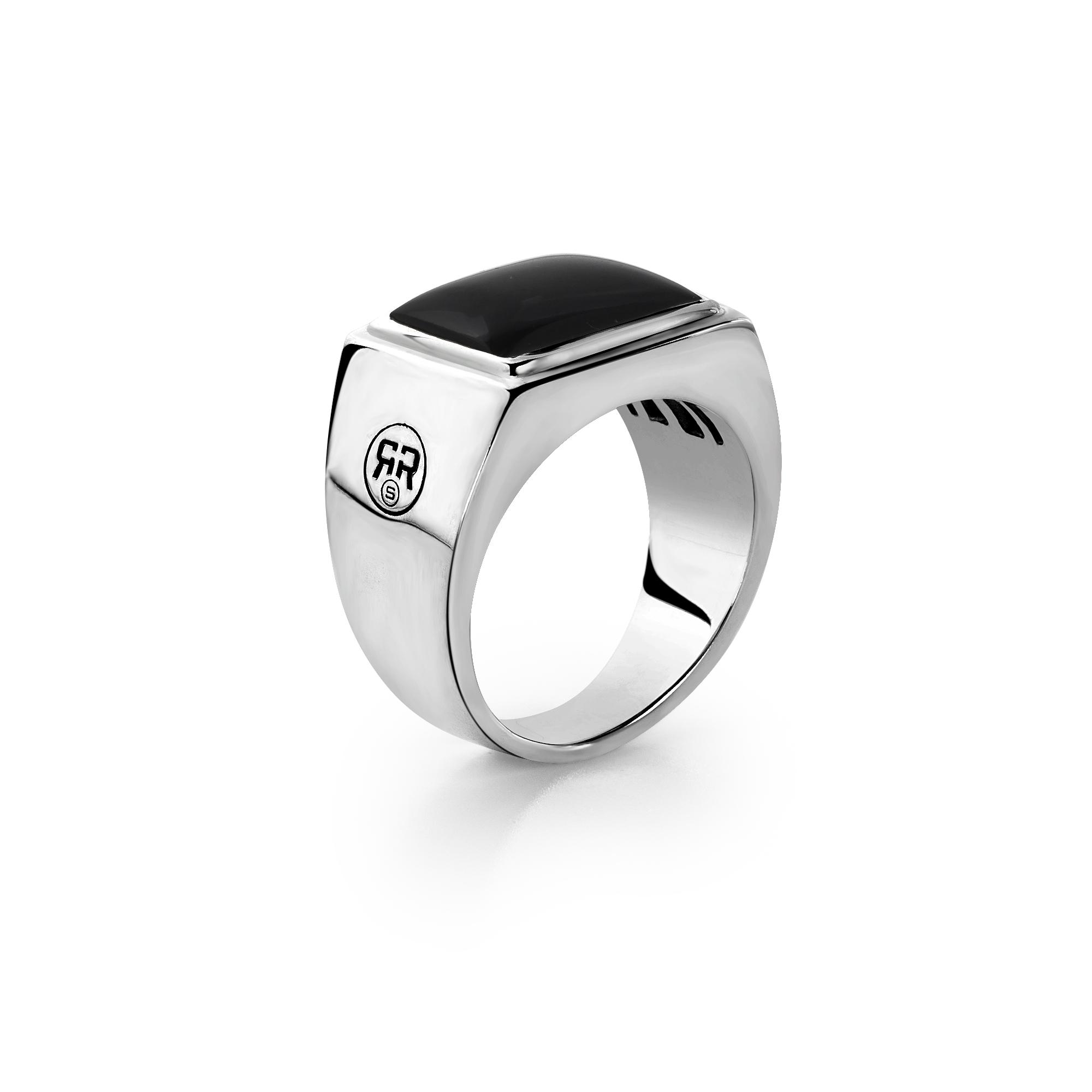 Rebel and Rose RR RG004 S Ring Square Onyx zilver zwart Maat 63