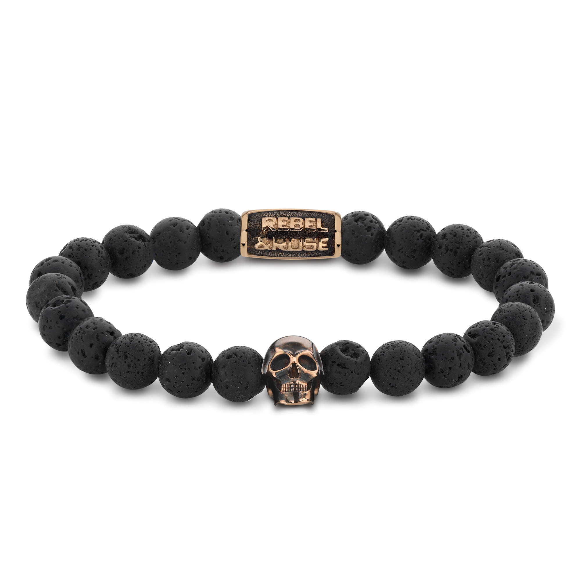 Rebel and Rose RR-SK003-R-S Armband Skull Black Moon rose gold plated S 8mm 16.5