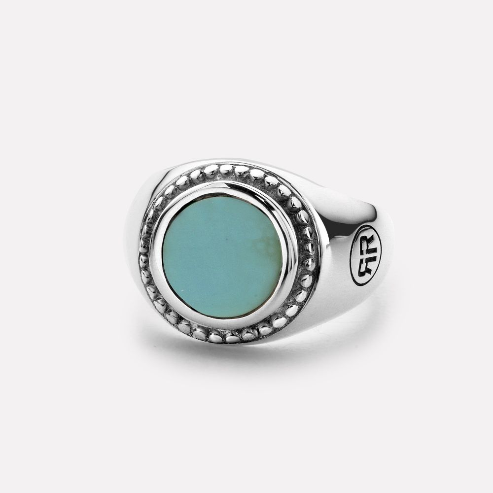 Rebel and Rose RR RG014 S Ring Women Round Turquoise zilver turquoise Maat 57