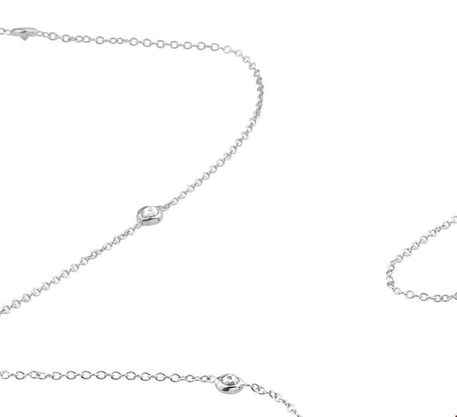 TFT Zilveren Ketting Zirkonia 1,2 mm x 42+3 cm