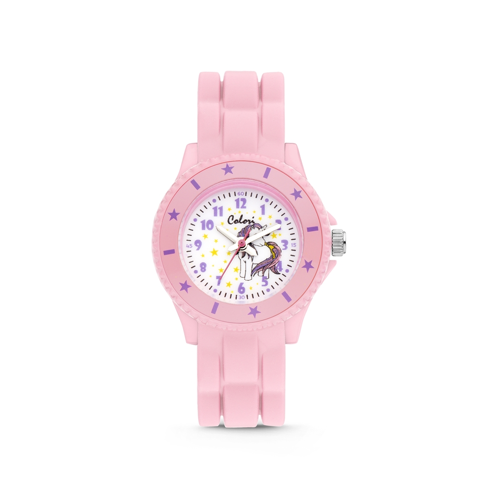 Colori Kidz 5 CLK111 Kinderhorloge met Unicorn - Siliconen Band - Ø 30 mm - Roze