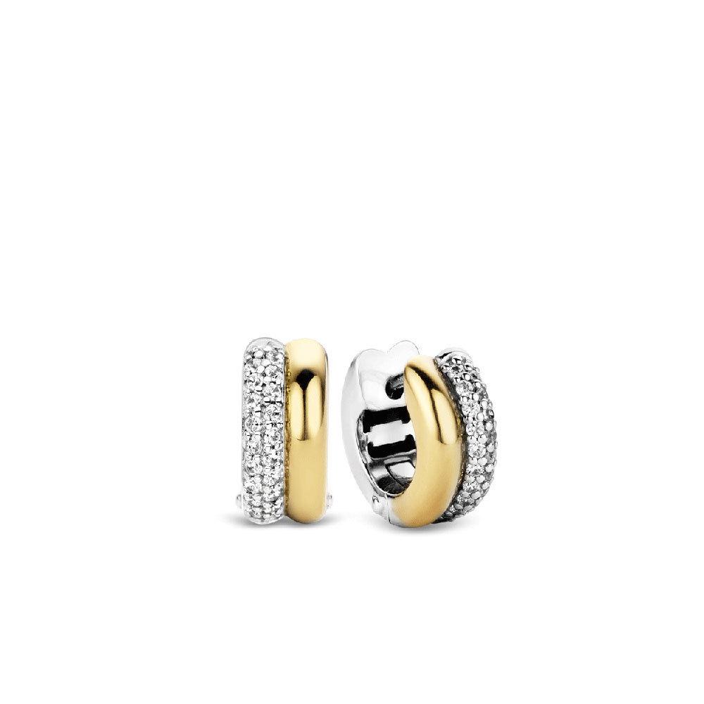 Ti Sento Milano 7643ZY Oorringen zilver en goudkleurig zirconia 14 x 6,1 mm