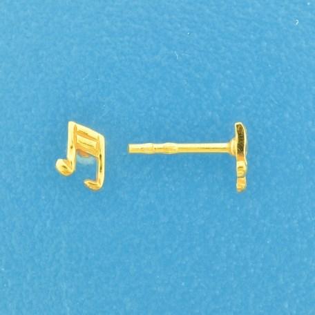 TFT Oorknoppen Muzieknoot Geelgoud Op Zilver Glanzend 6 mm x 5 mm