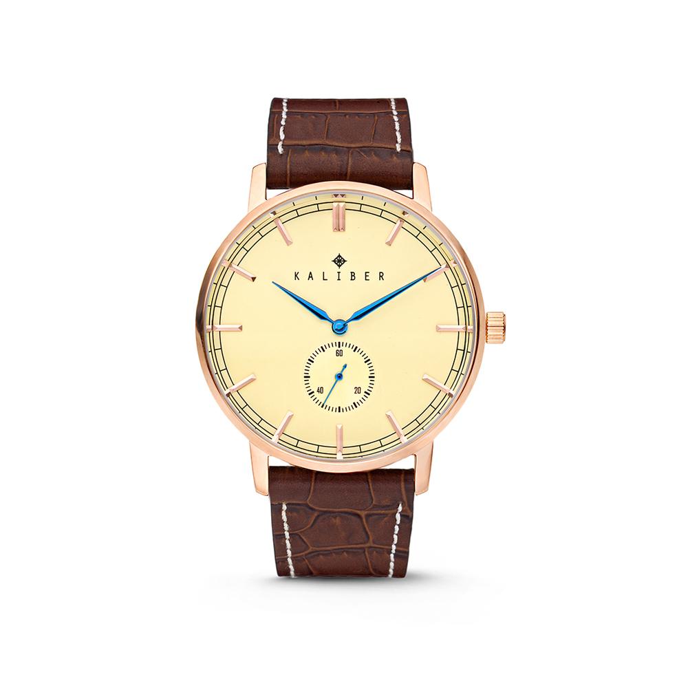 Kaliber 7KW-00003 Horloge met lederen band bruin-rosekleurig 40 mm