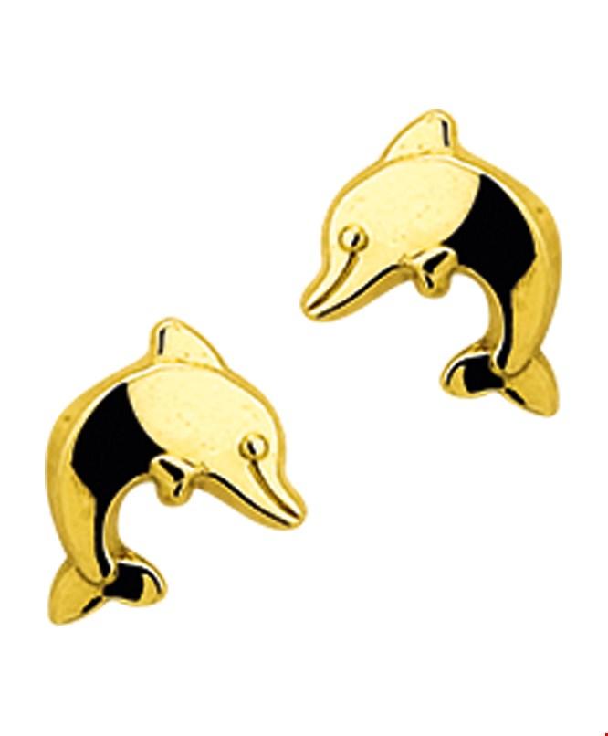 TFT Oorknoppen Dolfijn Geelgoud Glanzend 7 mm x 5.5 mm