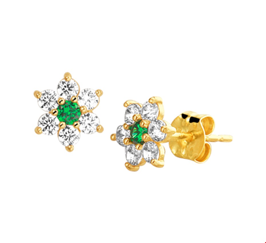 The Jewelry Collection Oorknoppen Synth. Smaragd En Zirkonia - Geelgoud