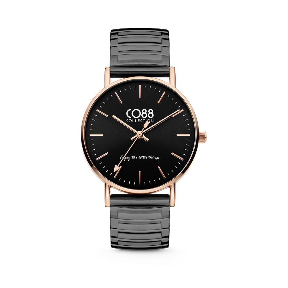 CO88 Collection Horloges 8CW 10091 Horloge met Stalen Elastische Band - Ø36 mm - Zwart