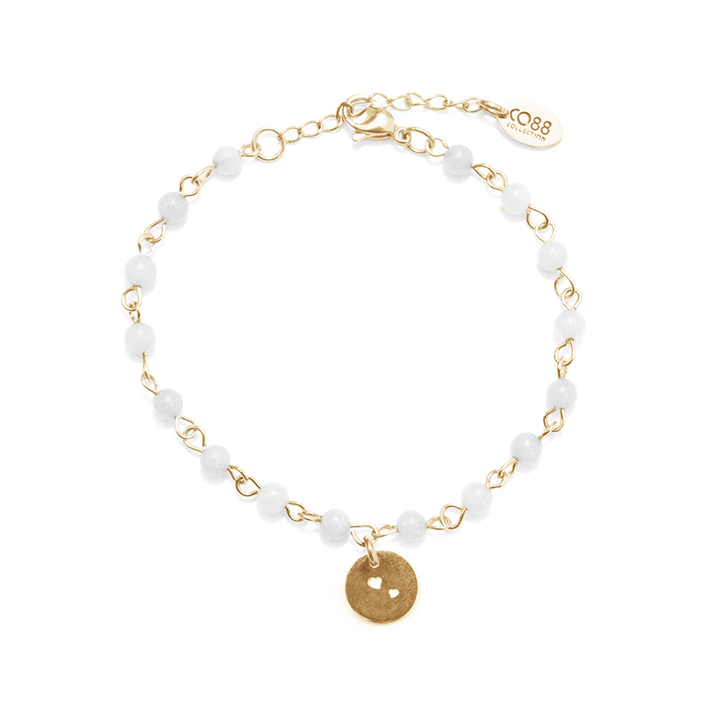 CO88 Collection 8CB-90050 Natuurstenen armband met bedel Jade 4 mm en hartjes bedel lengte 16 + 3 cm