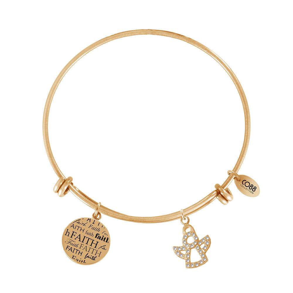CO88 Armband Bangle met bedels Faith en Engel staal/goudkleurig one-size 8CB-60009