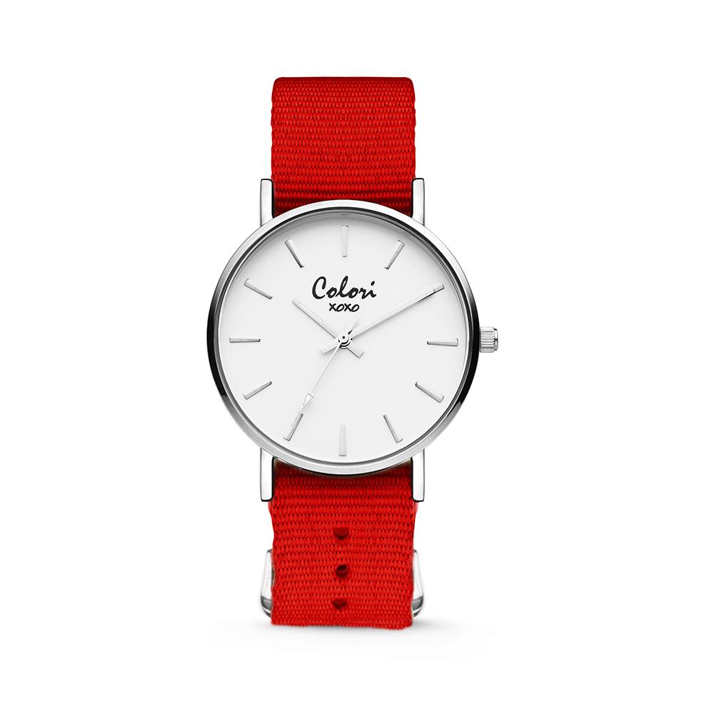 Colori XOXO 5 COL553 Horloge geschenkset met Armband - Nato Band - Ø 36 mm - Rood - Zilverkleurig