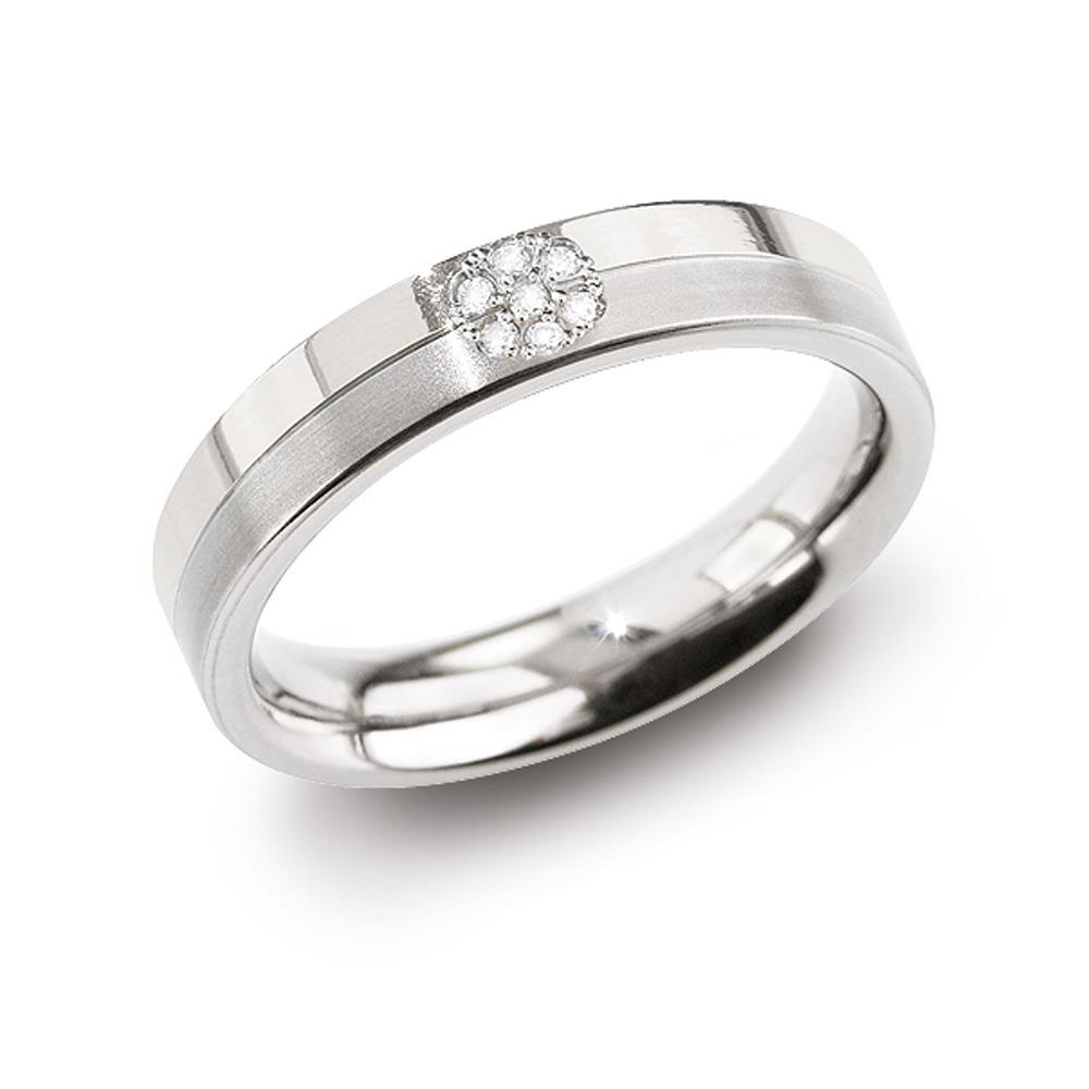 Boccia 0129 05 Ring Titanium Diamant zilverkleurig 4,3 mm 7 * 0,035 crt Maat 63