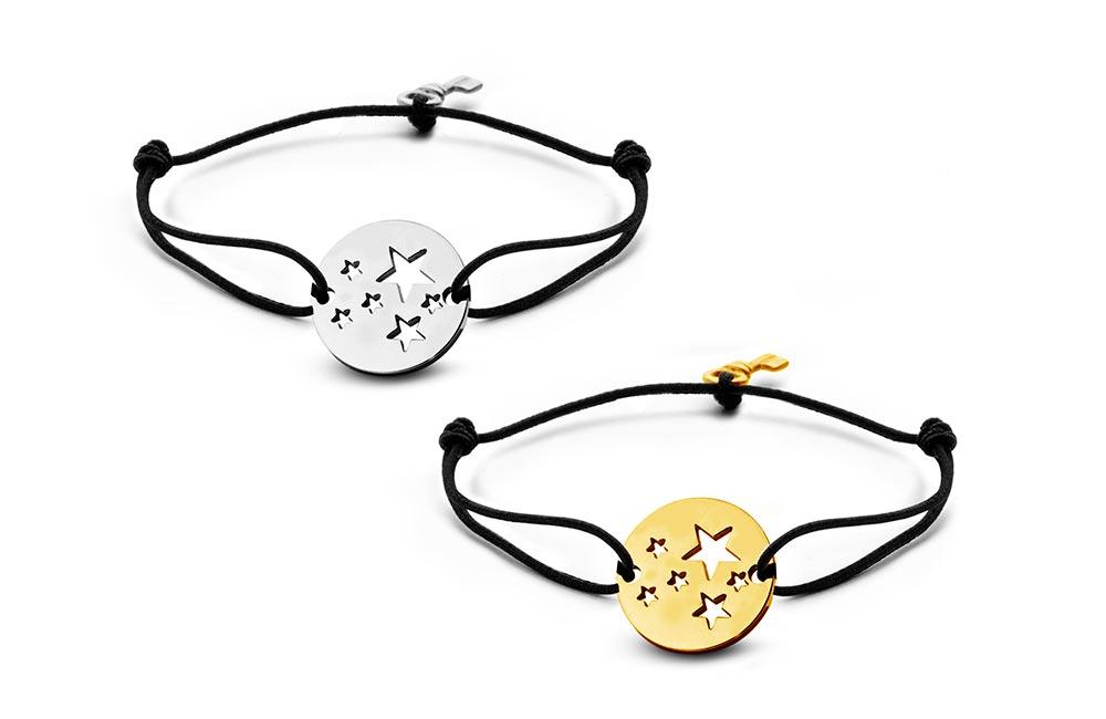 Key Moments 8KM-C00007 Duo armband met open sterren en sleutel one-size zilverkleurig-goudkleurig