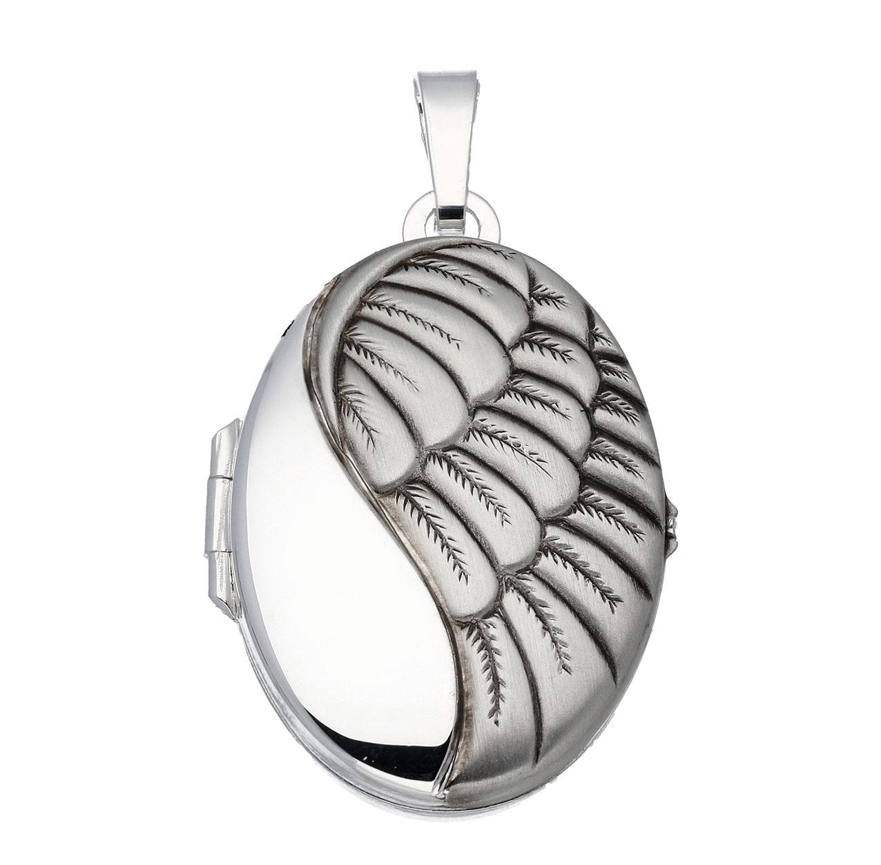 Zilveren Medaillon Ovaal - Vleugel Engel - 22 x 31 mm 145.0099.00
