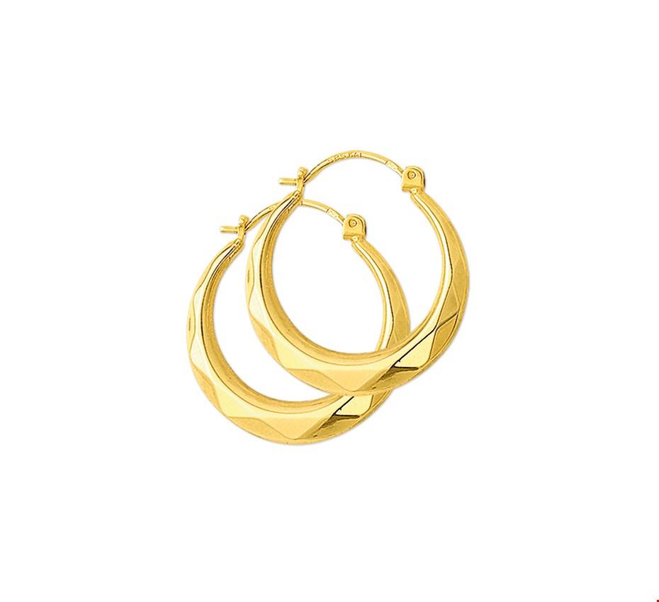 Huiscollectie 4001352 Gouden creolen gefacetteerd 20 mm