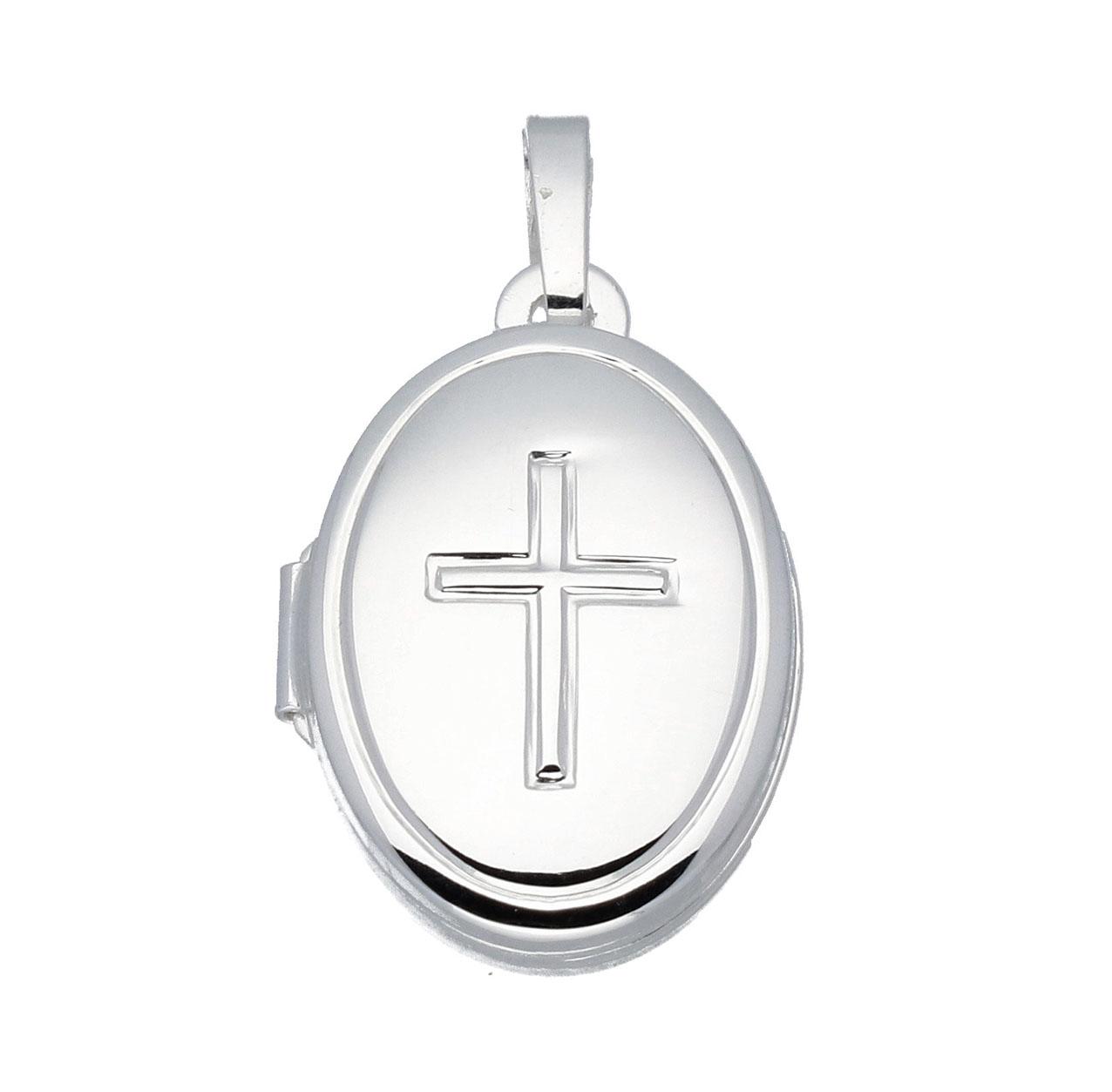 Zilveren Medaillon Ovaal - Kruis - 12 x 17 mm 145.0059.00