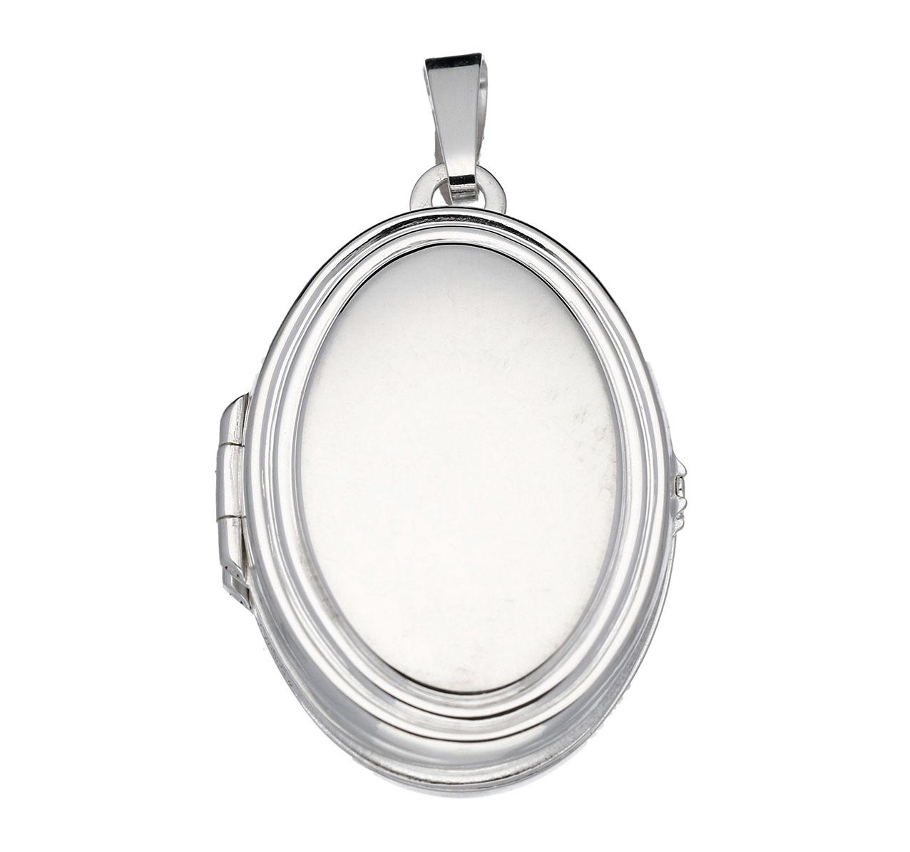 Zilveren Medaillon Ovaal en glad. Voor 4 foto's. 145.0052.00