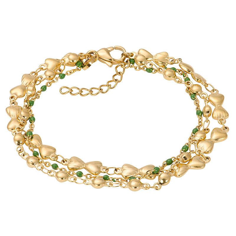 IXXXI B00331-01 Armband Botswana Green goudkleurig-groen 17-20 cm