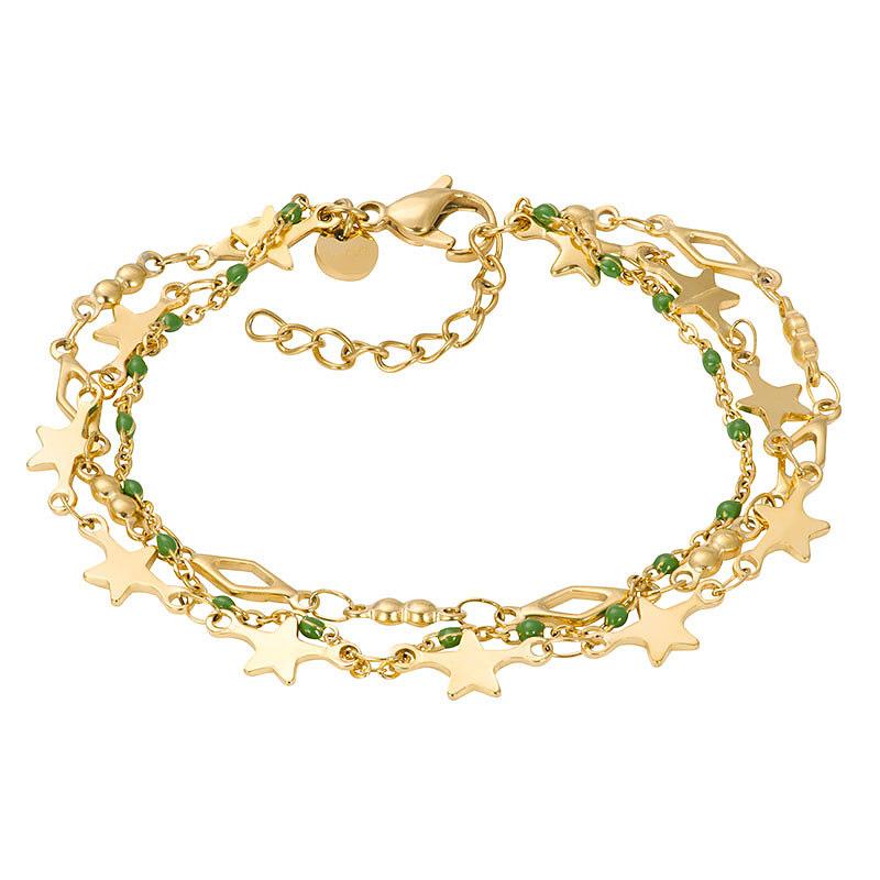 IXXXI B00339-01 Armband Kenia Green Star goudkleurig-groen 17-20 cm
