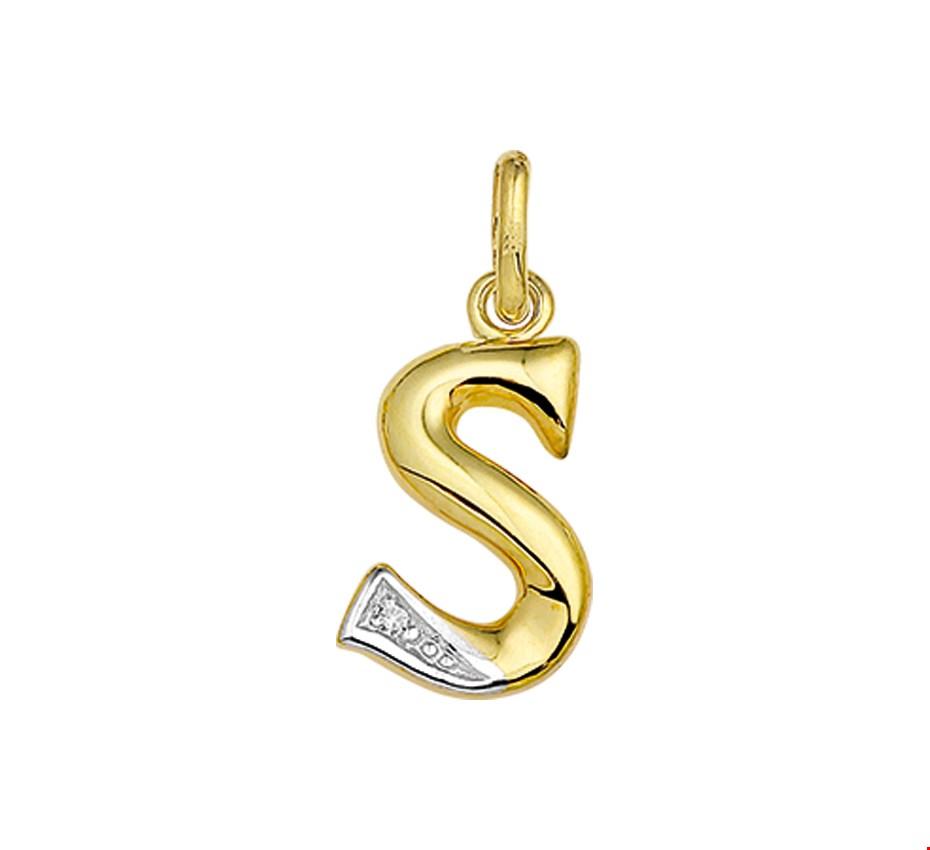 TFT Bedel Letter S Diamant 0.005 Ct. Goud