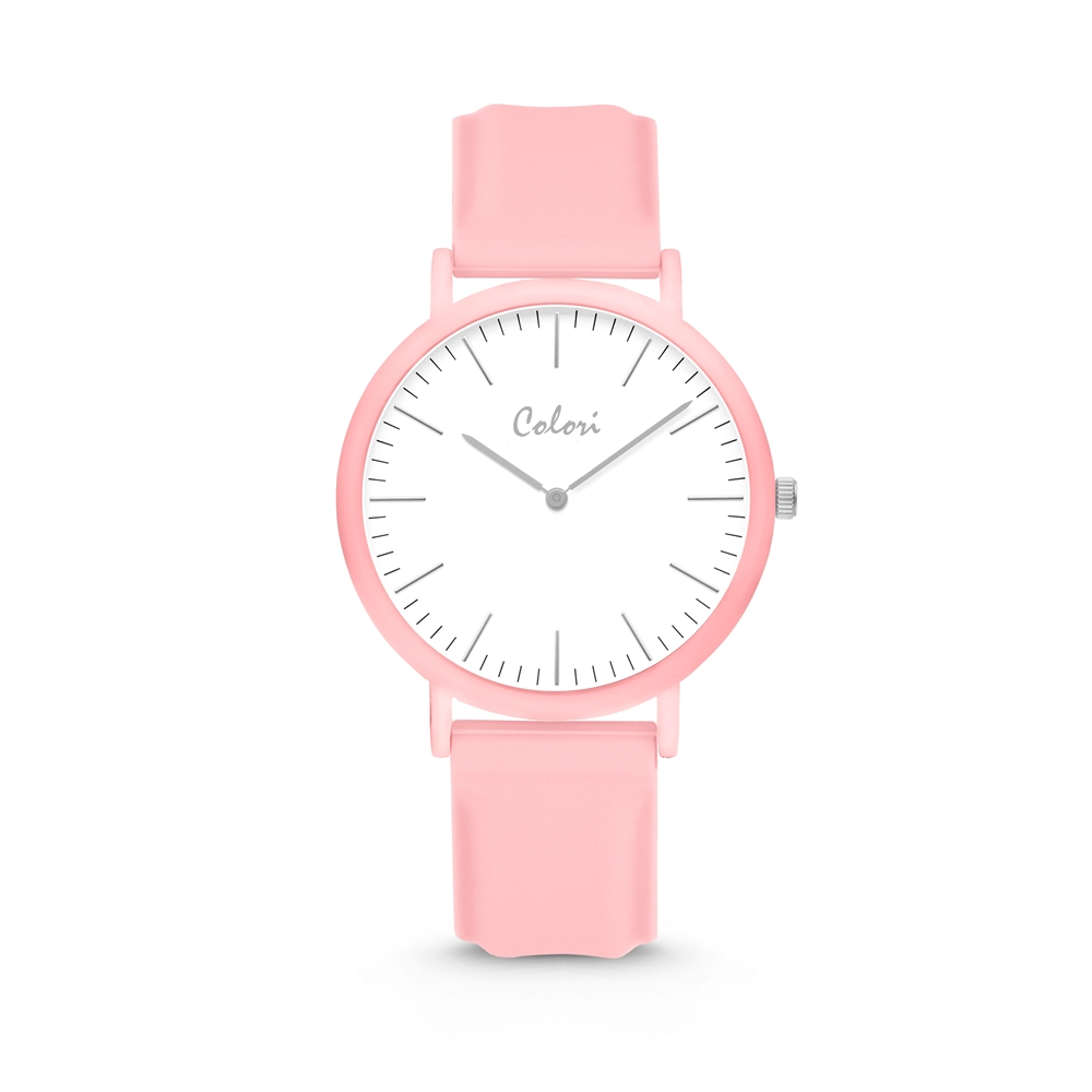Colori Essentials 5 COL585 Horloge - Siliconen Band - Ø 40 mm - Licht Roze