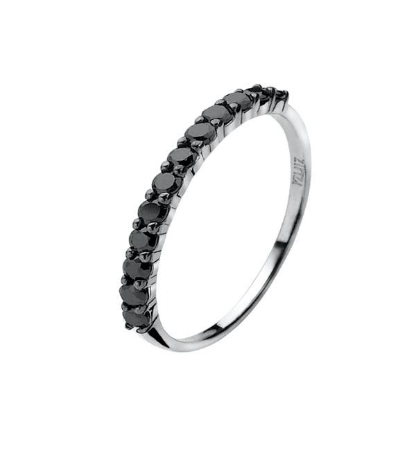 Zinzi ZIR827Z Ring zilver met zwarte zirconia Maat 56