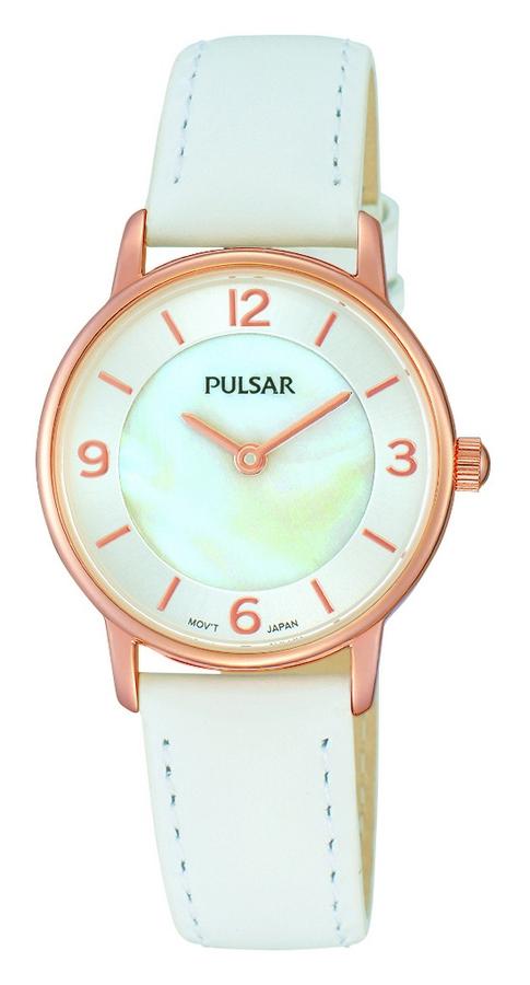 Pulsar Dameshorloge Witte band & Rosékleurige kast PRW030X1