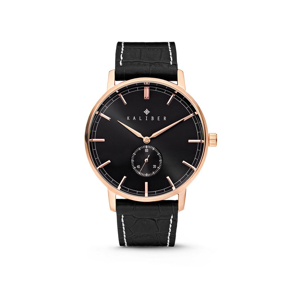 Kaliber 7KW-00004 Horloge met lederen band zwart en rosekleurig 40 mm