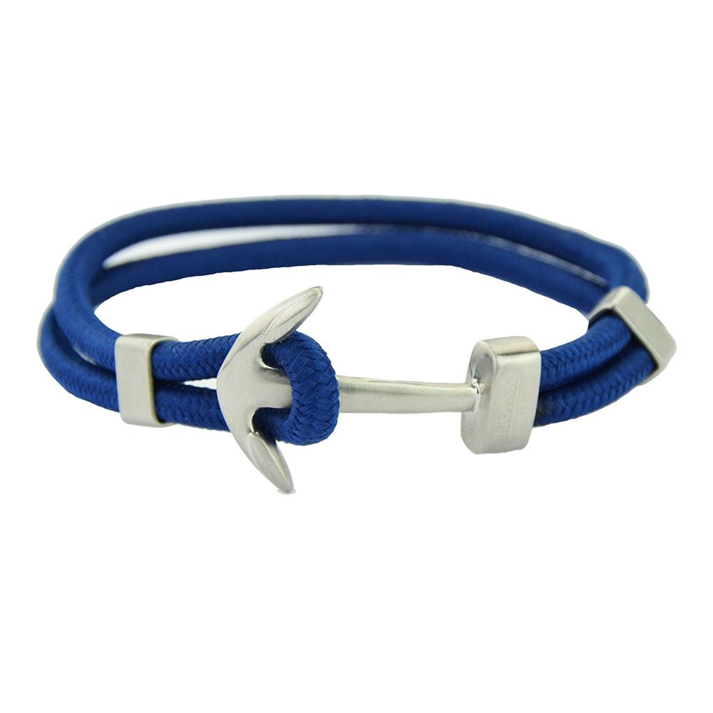 Frank 1967 Nautical 7FB 0328 Gevlochten heren armband met stalen sluiting Anker 21 cm Blauw