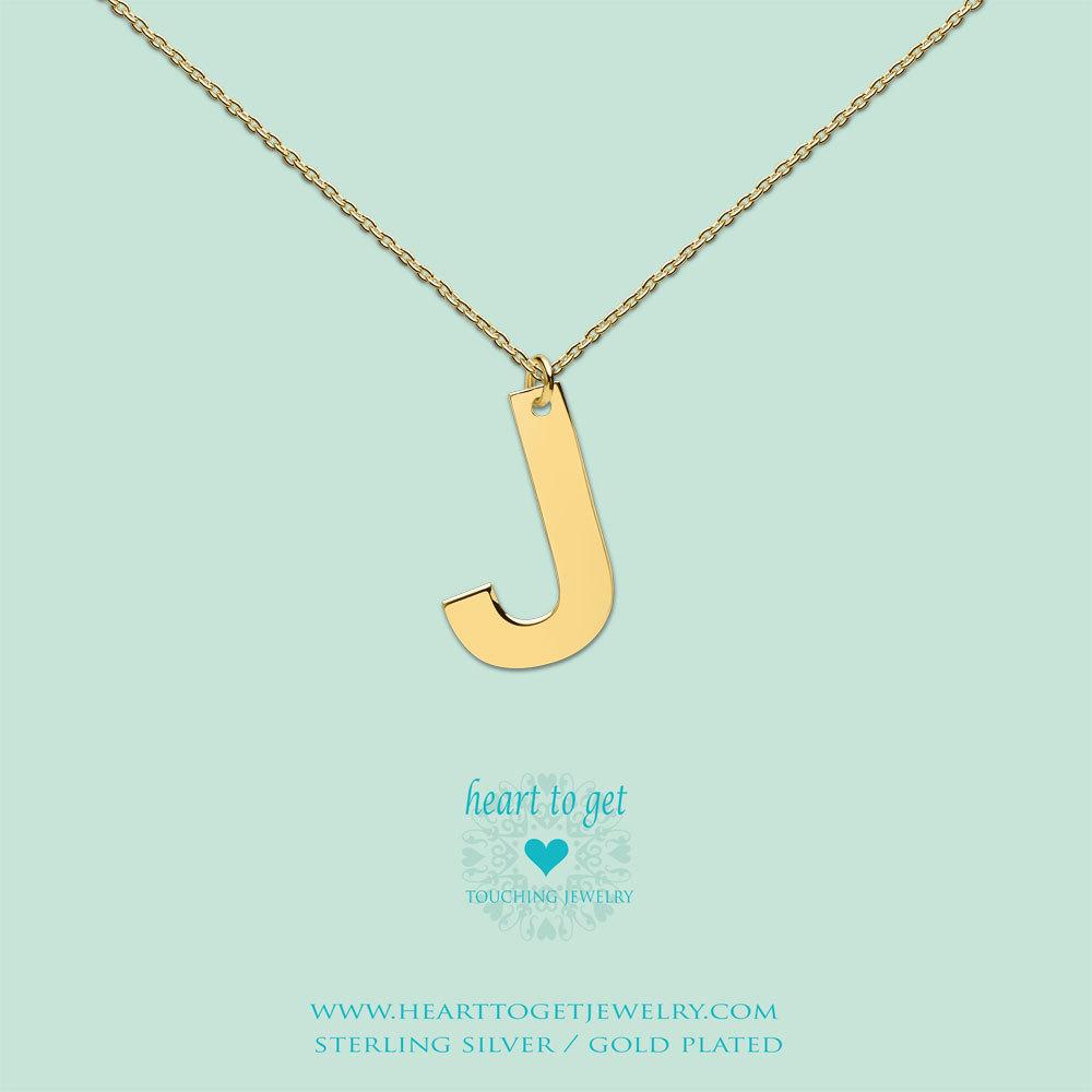 Heart to get LB151INJ16G Ketting met hanger Letter J 40-48 cm zilver goudkleurig