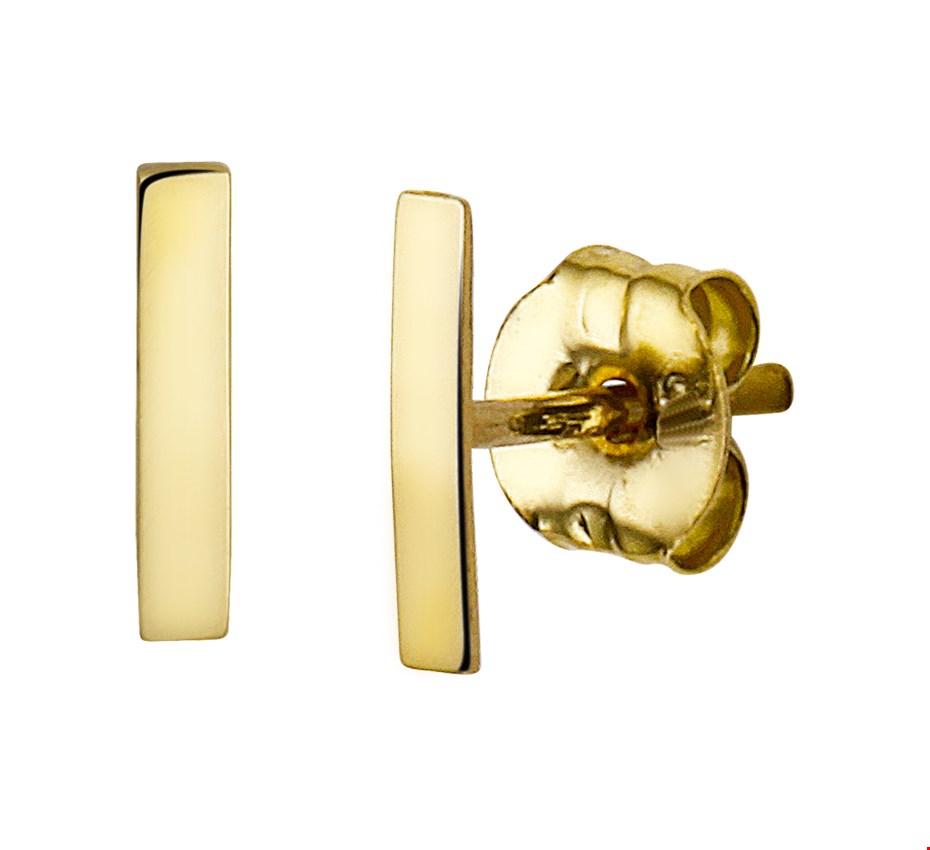 The Jewelry Collection Oorknoppen Balkje - Geelgoud