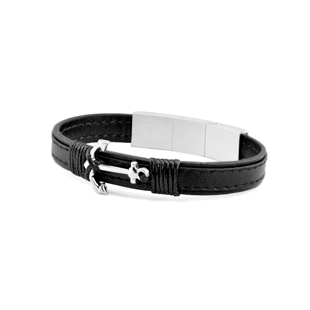Frank 1967 Leather 7FB 0350 Leren Armband met Anker 21 cm Zwart