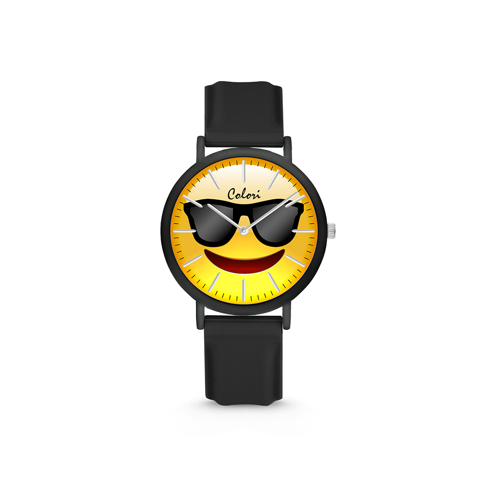 Colori Essentials Smile 5 CLK116 Kinderhorloge - Zonnebril - Siliconen band - Ø 30 mm - Zwart