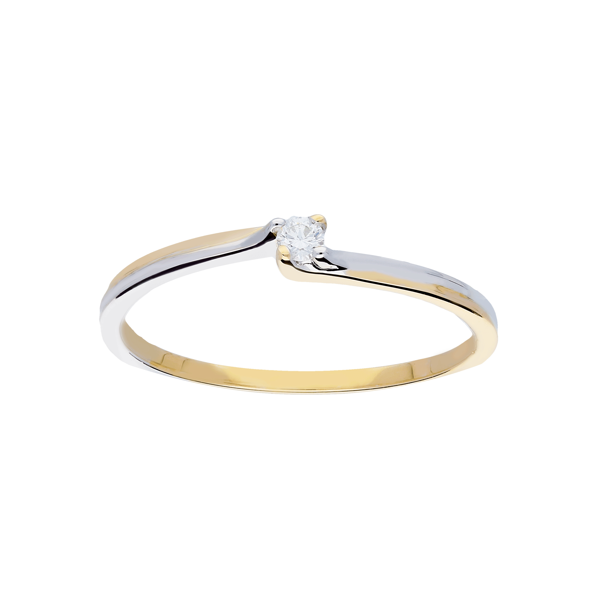 Glow Gouden Ring Bicolor Glanzend Diamant 1 0.04ct G si 214.5229.56