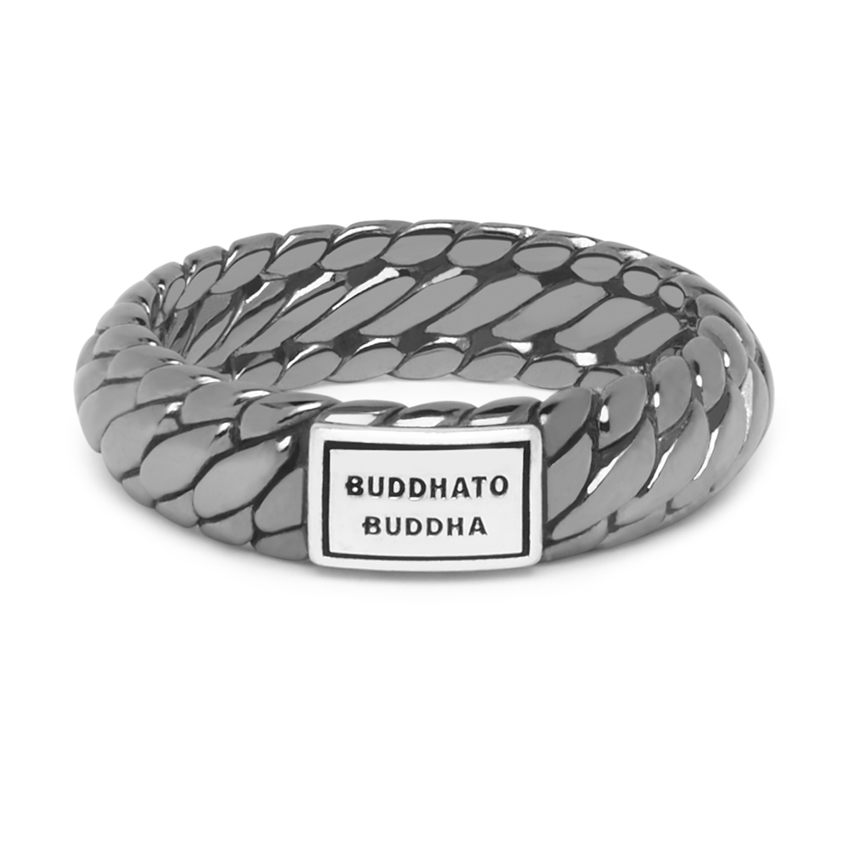 Buddha to Buddha 125BR SS Ring Ben XS Black Rhodium Shine Silver Maat 18