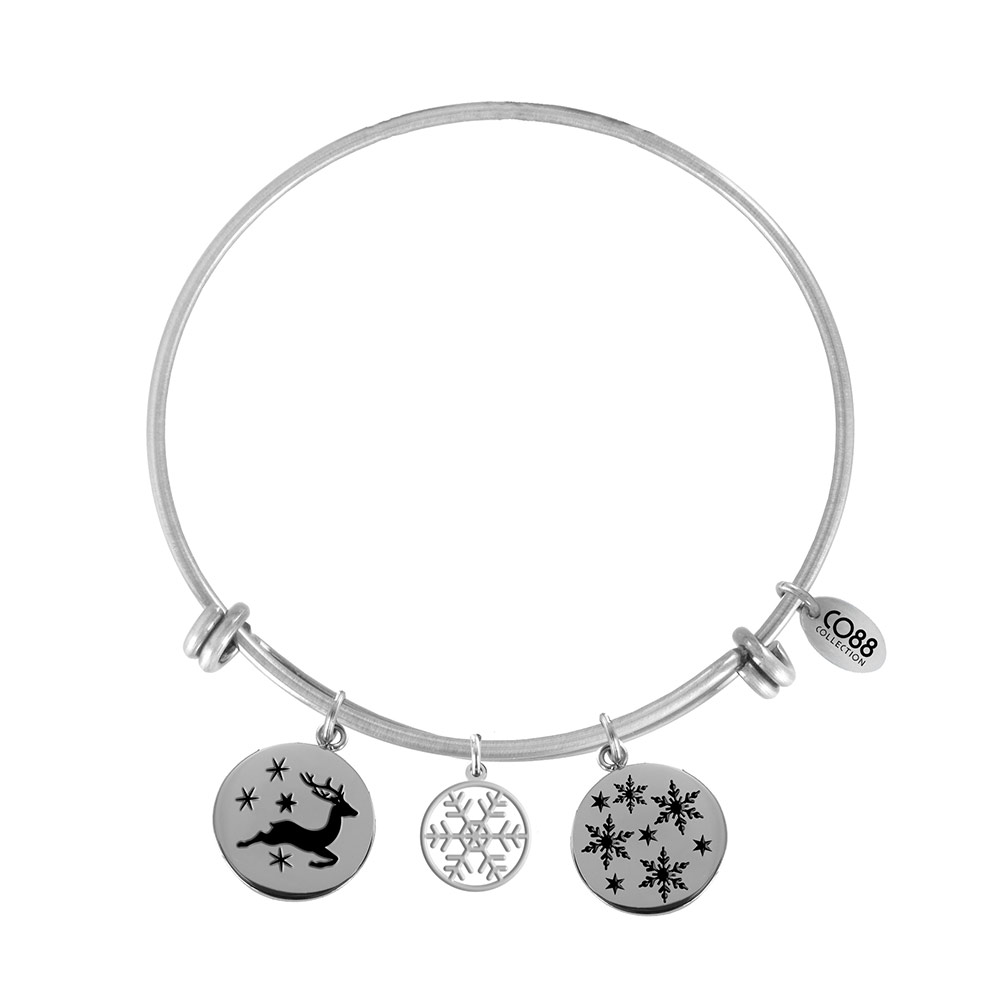 CO88 Armband Bangle 'Rendier-Sneeuwvlokken' staal, one-size 8CB-16003