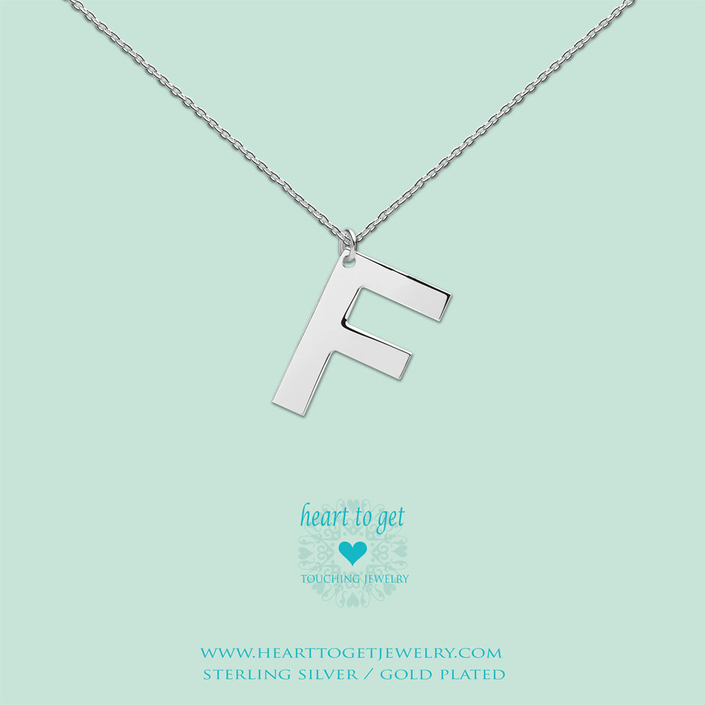 Heart to get LB147INF16S Ketting Big Initial letter F zilver 40-48 cm