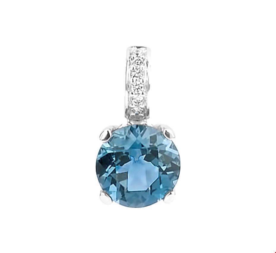 TFT Hanger Witgoud London Blue Topaas En Diamant 0.03ct H SI