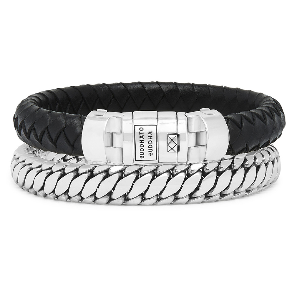 Buddha to Buddha 008BL Armbanden Ben Customized Set Silver Leather Black E 19 cm