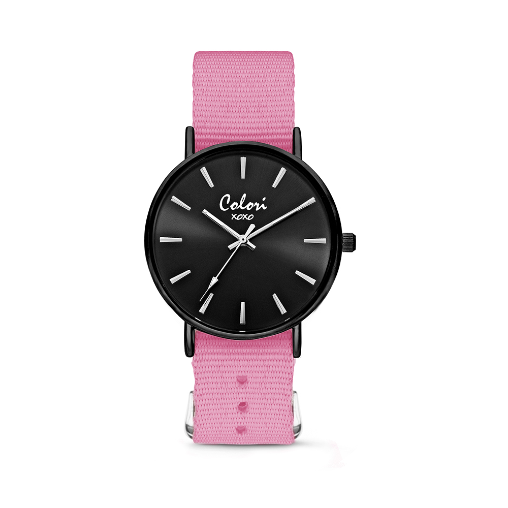Colori XOXO 5 COL558 Horloge geschenkset met Armband - Nato Band - Ø 36 mm - Roze - Zwart
