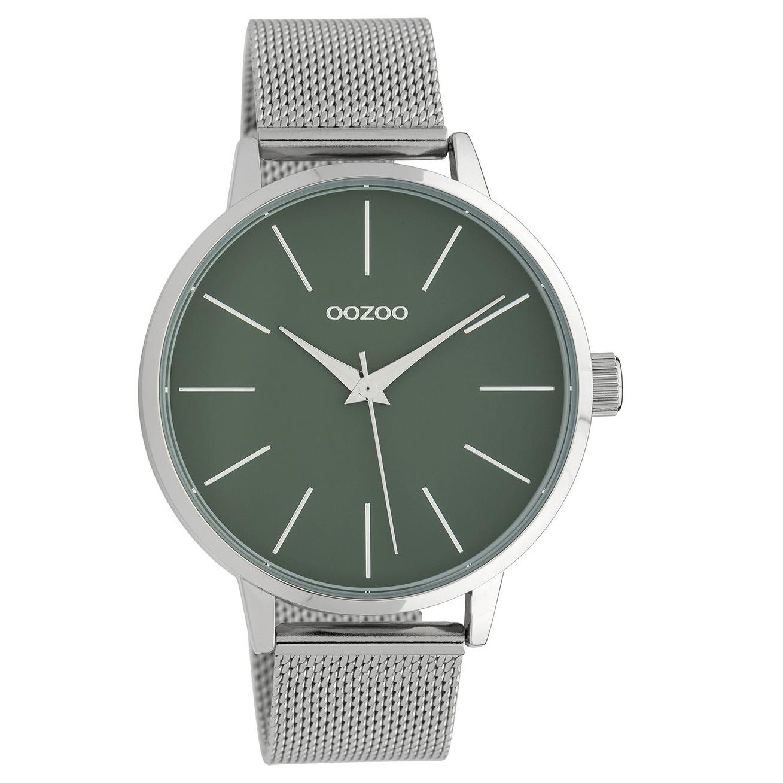 OOZOO C10006 Horloge Timepieces Collection staal zilverkleurig-groen 42 mm