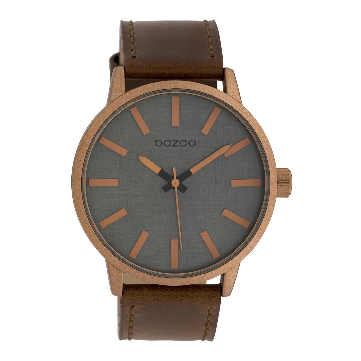 OOZOO C10033 Horloge Timepieces Collection grijs cognac 45 mm