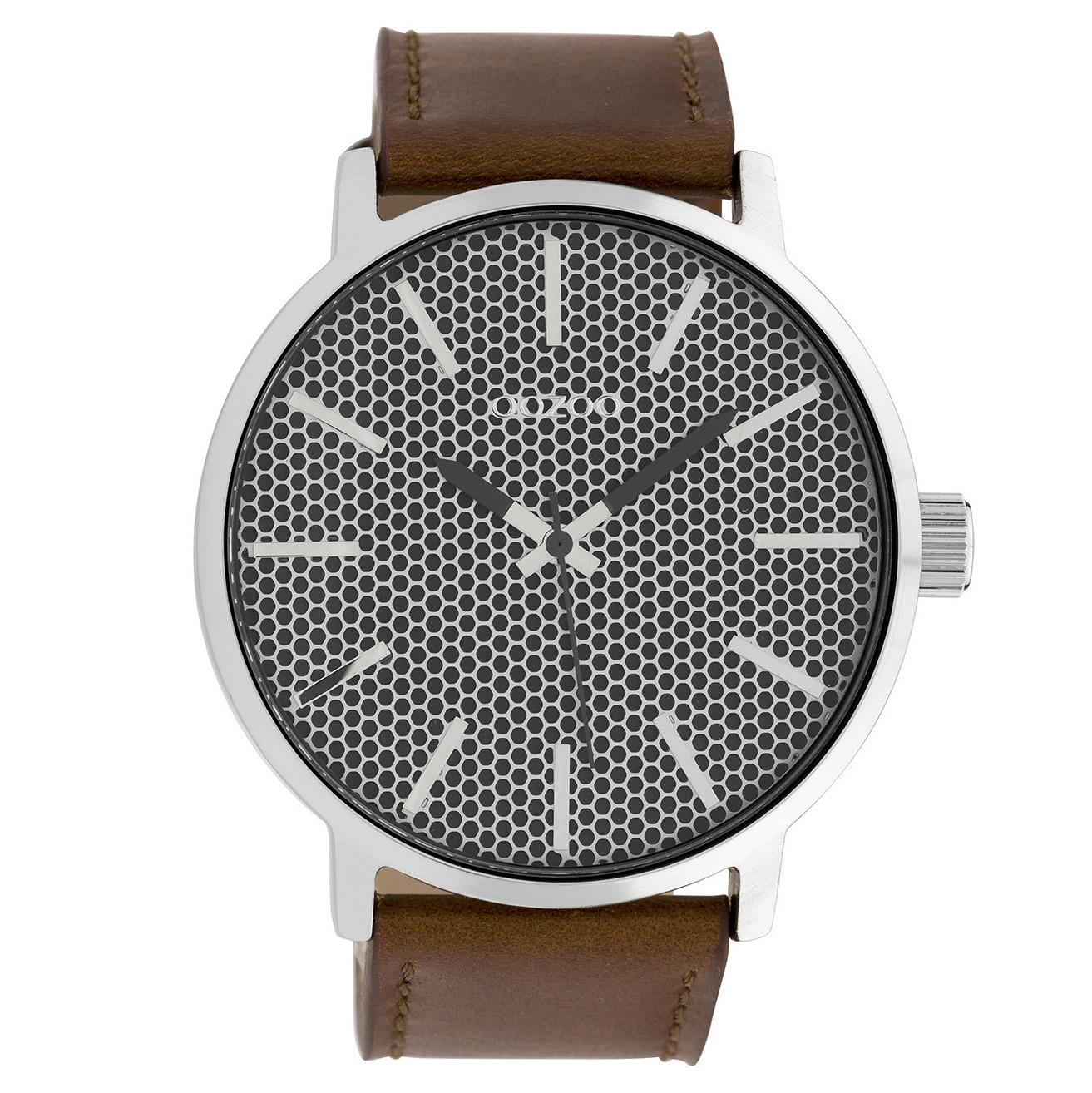 OOZOO C10039 Horloge Timepieces Collection staal zilverkleurig-bruin 48 mm