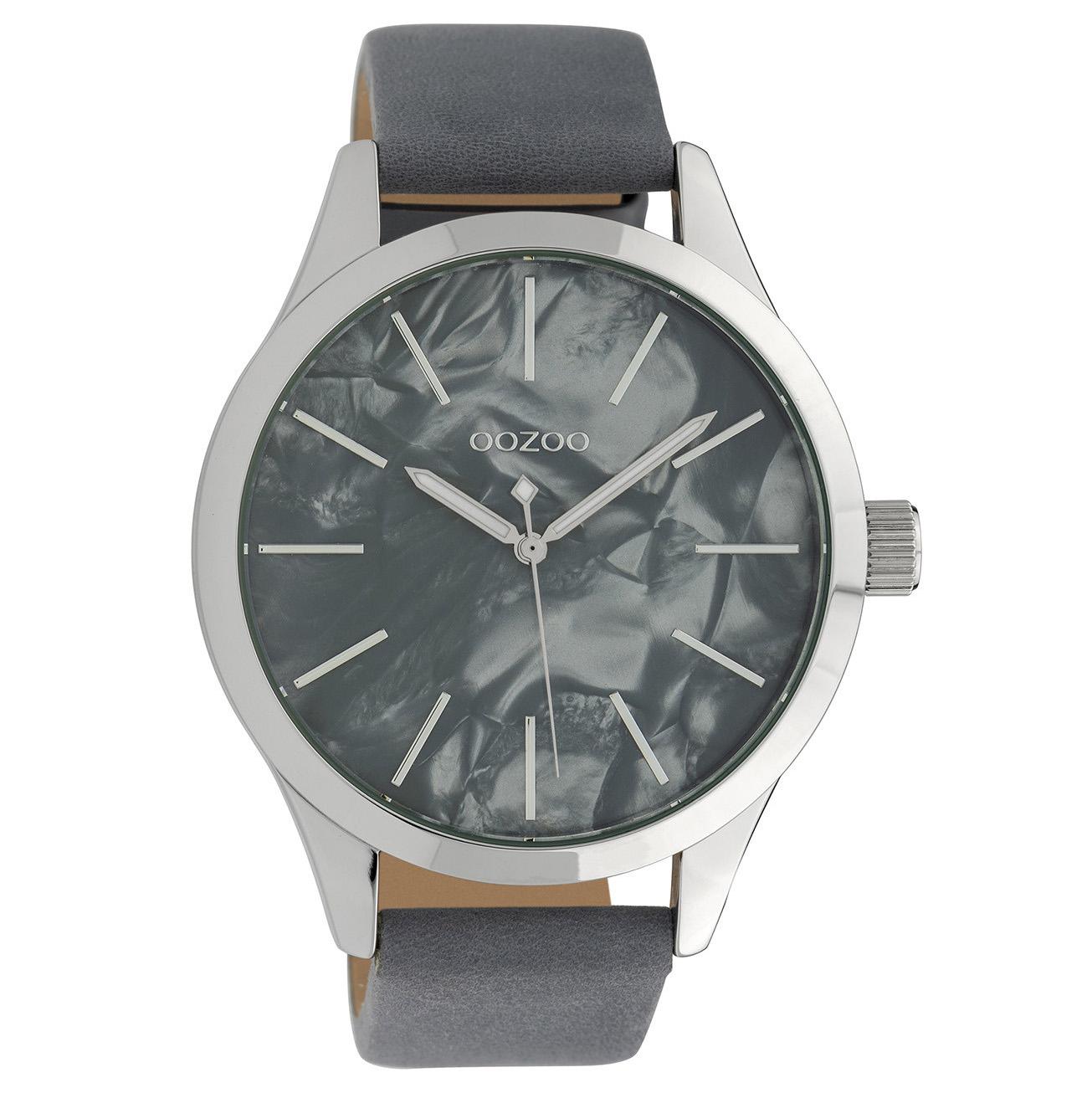 OOZOO C10074 Horloge Timepieces Collection staal leder zilverkleurig bluegrey 45 mm