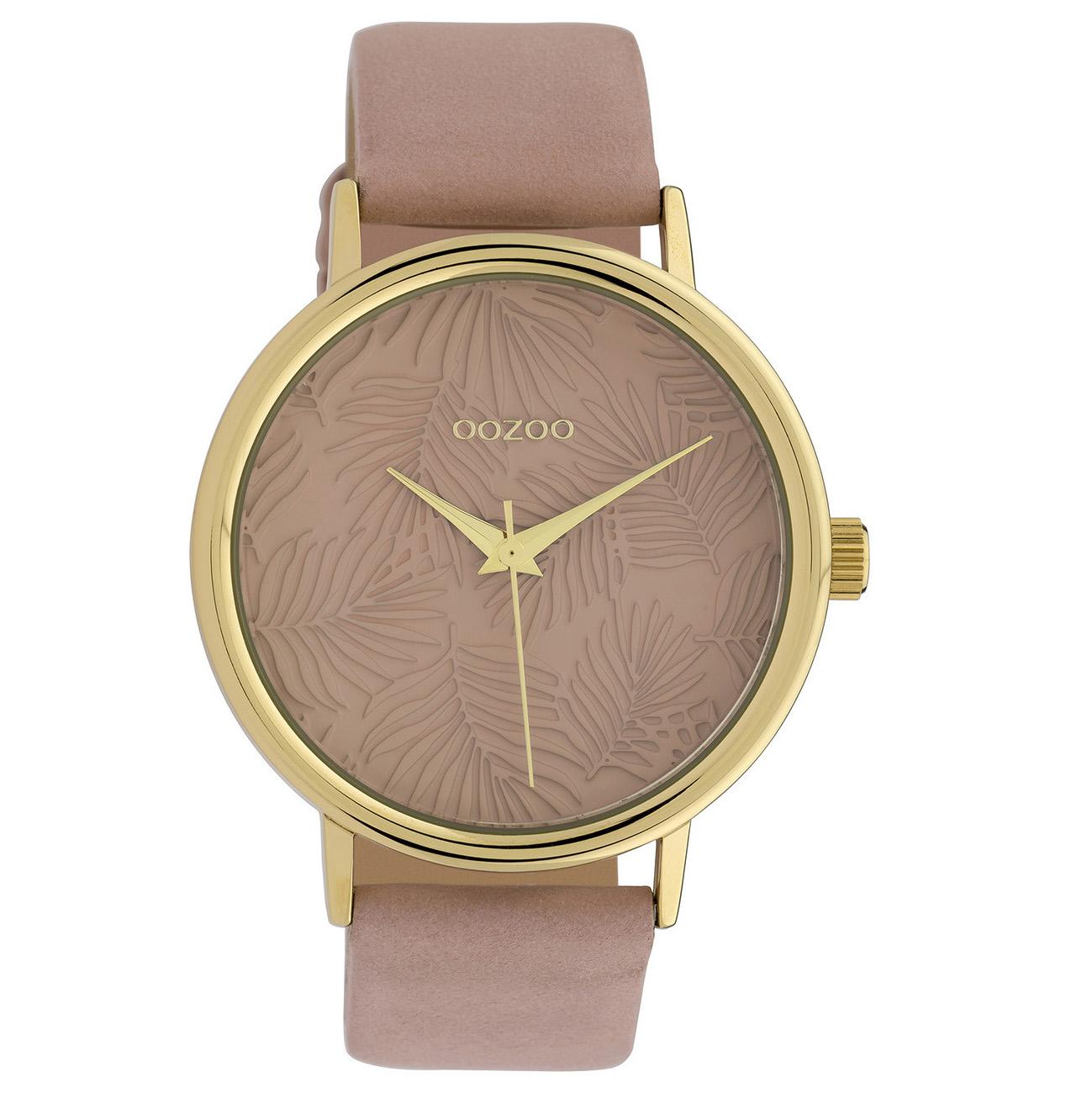 OOZOO C10081 Horloge Timepieces Collection staal-leder goudkleurig-softpink 42 mm