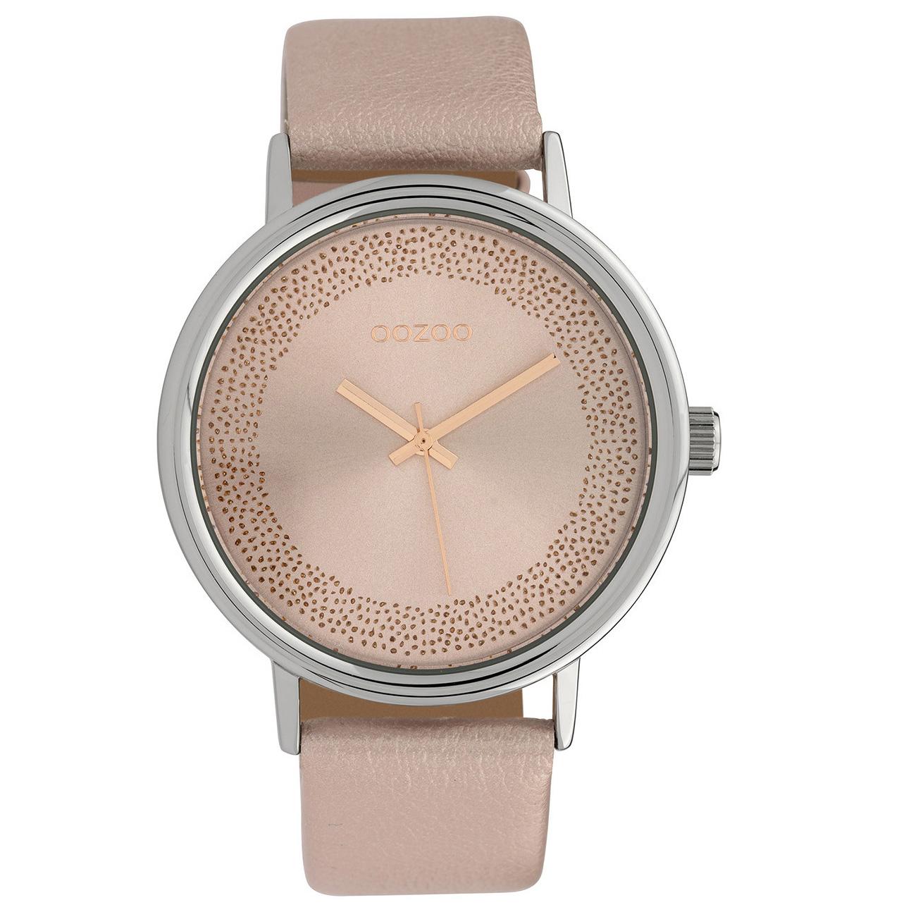 OOZOO C10098 Horloge Timepieces Collection staal-leder zilverkleurig-roze 42 mm