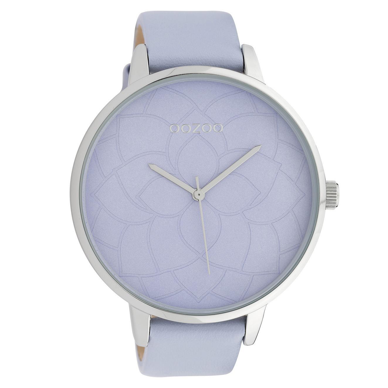 OOZOO C10103 Horloge Timepieces Collection staal leder zilverkleurig pastel lila 48 mm