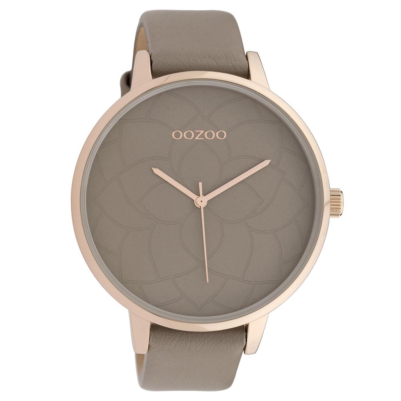 OOZOO C10104 Horloge Timepieces staal/leder rosekleurig-taupe 48 mm