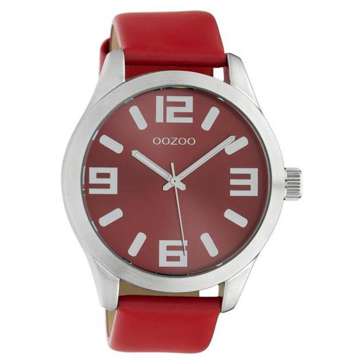 OOZOO C10237 Horloge Timepieces staal leder rood 46 mm
