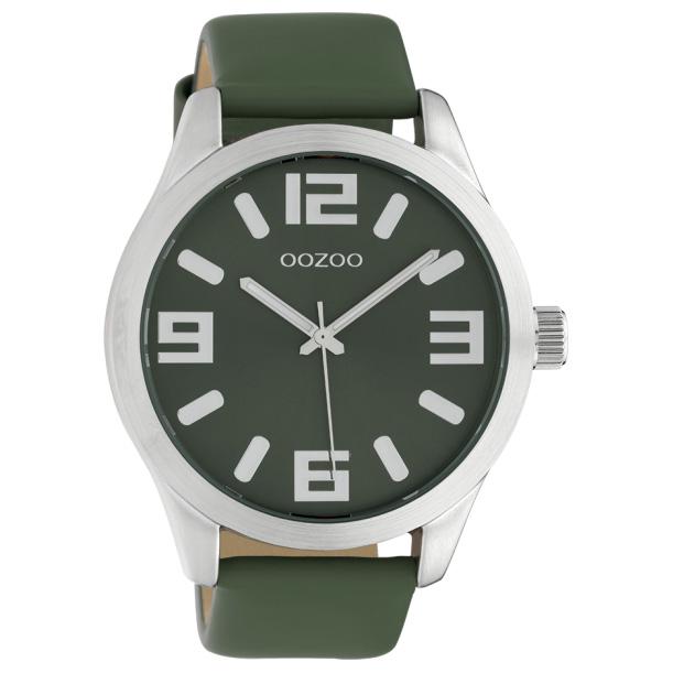 OOZOO C10239 Horloge Timepieces staal/leder groen 46 mm