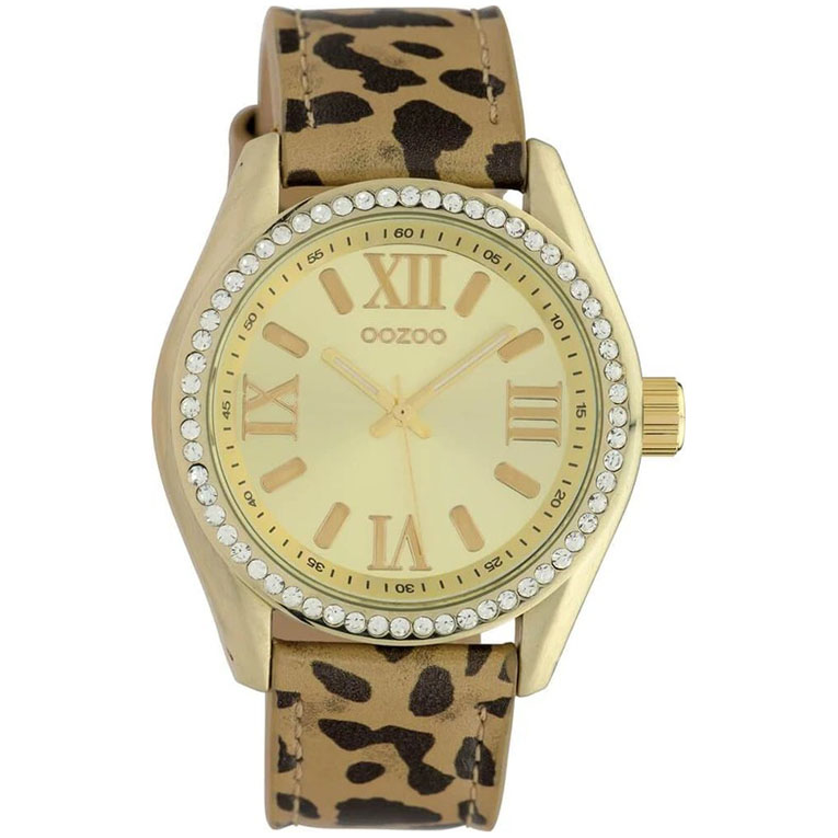 OOZOO C10270 Horloge Timepieces Leopard staal-leder zwart-bruin-goudkleurig 40 mm